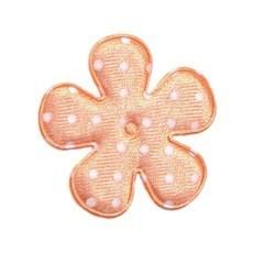 Applicatie bloem oranje/zalm met witte stip satijn middel 35 mm (ca. 25 stuks)