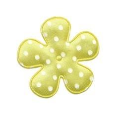 Applicatie bloem geel met witte stip satijn middel 35 mm (ca. 25 stuks)