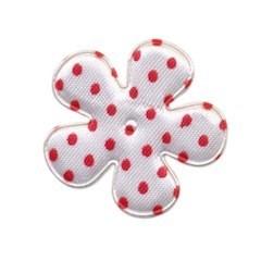 Applicatie bloem wit met rode stip satijn middel 35 mm (ca. 100 stuks)