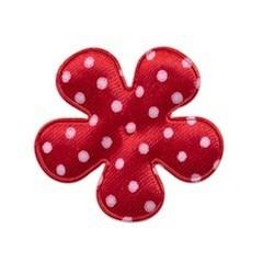 Applicatie bloem rood met witte stip satijn middel 35 mm (ca. 100 stuks)