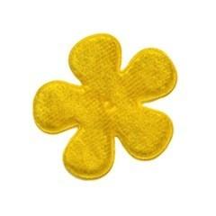 Applicatie bloem geel fluweel middel 35 mm (ca. 100 stuks)