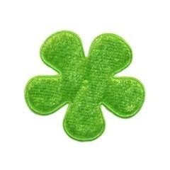 Applicatie bloem groen fluweel middel 35 mm (ca. 25 stuks)