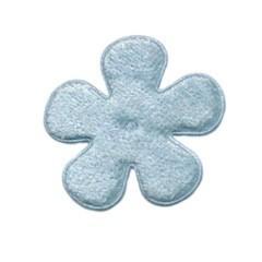 Applicatie bloem licht blauw fluweel middel 35 mm (ca. 100 stuks)