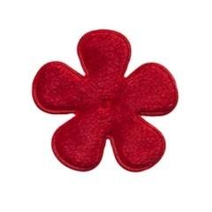 Applicatie bloem rood fluweel middel 35 mm (ca. 25 stuks)