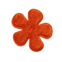 Applicatie bloem oranje fluweel middel 35 mm (ca. 100 stuks)