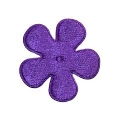 Applicatie bloem paars fluweel middel 35 mm (ca. 25 stuks)