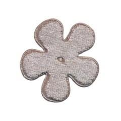 Applicatie bloem grijs fluweel middel 35 mm (ca. 25 stuks)