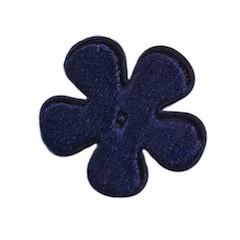 Applicatie bloem donker blauw fluweel middel 35 mm (ca. 100 stuks)