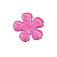 Applicatie bloem roze fluweel klein 25 mm (ca. 100 stuks)