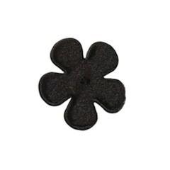 Applicatie bloem zwart fluweel klein 25 mm (ca. 25 stuks)