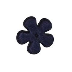 Applicatie bloem donker blauw fluweel klein 25 mm (ca. 25 stuks)