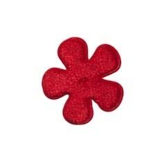 Applicatie bloem rood fluweel klein 25 mm (ca. 25 stuks)