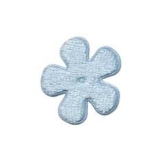 Applicatie bloem licht blauw fluweel klein 25 mm (ca. 25 stuks)