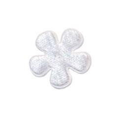 Applicatie bloem wit fluweel klein 25 mm (ca. 100 stuks)