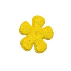 Applicatie bloem geel fluweel klein 25 mm (ca. 25 stuks)