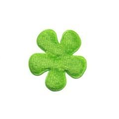 Applicatie bloem groen fluweel klein 25 mm (ca. 25 stuks)