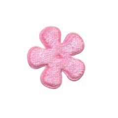 Applicatie bloem licht roze fluweel klein 25 mm (ca. 25 stuks)