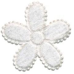 Applicatie bloem wit fluweel groot 45 mm (ca. 100 stuks)