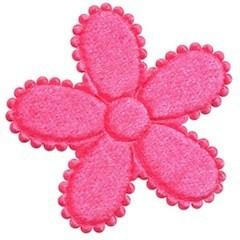 Applicatie bloem roze fluweel groot 45 mm (ca. 25 stuks)
