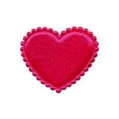 Applicatie hart fuchsia satijn effen middel 35 mm (ca. 100 stuks)