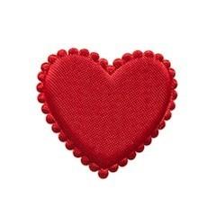 Applicatie hart rood satijn effen middel 35 mm (ca. 100 stuks)