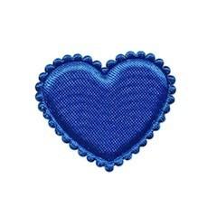 Applicatie hart kobalt blauw satijn effen middel 35 mm (ca. 100 stuks)
