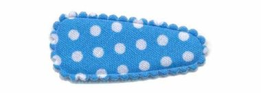 Haarknip met haarkniphoesje blauw met witte stip / polkadot 3 cm (ca. 100 stuks)