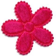 Applicatie bloem fuchsia fluweel groot 45 mm (ca. 25 stuks)