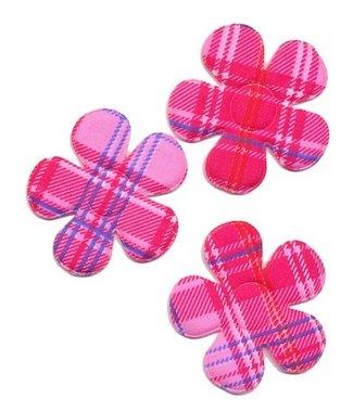 Applicatie bloem burberry ruit roze groot 45 mm (ca. 25 stuks)