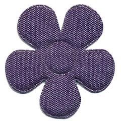 Applicatie bloem denim donker blauw groot 45 mm (ca. 25 stuks)