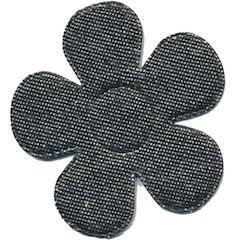 Applicatie bloem denim grijs groot 45 mm (ca. 25 stuks)