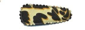 Haarkniphoesje giraffe print zacht geel 3 cm (ca. 100 stuks)
