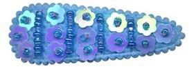 Haarknip met haarkniphoesje kraaltjes en pailletten streep blauw 5 cm (ca. 100 stuks)