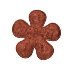 Applicatie bloem bruin satijn effen middel 35 mm (ca. 100 stuks)