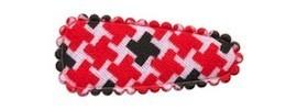 Haarkniphoesje Pied de Poule-look rood-zwart 3 cm (ca. 100 stuks)
