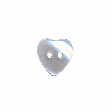 Hartvormige knoop transparant/wit 11 mm (ca. 25 stuks)