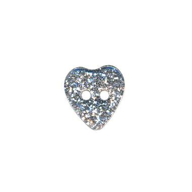 Hartvormige knoop zilver glitter 11 mm (ca. 25 stuks)
