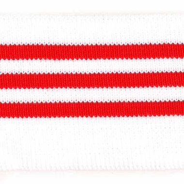 Boord wit met rode streepjes ca. 62 cm (6 stuks)