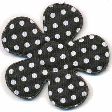 Applicatie bloem zwart met witte stippen katoen groot 45 mm (ca. 100 stuks)