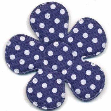 Applicatie bloem donker blauw met witte stippen katoen groot 45 mm (ca. 100 stuks)