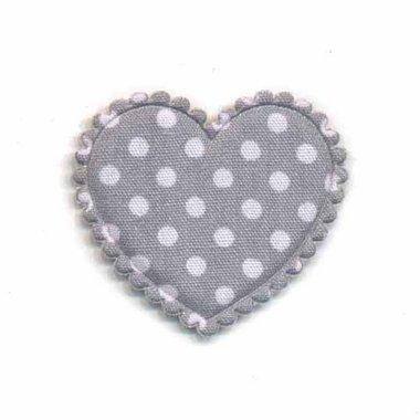 Applicatie hart grijs met witte stippen katoen middel 35 x 30 mm (ca. 25 stuks)