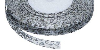 Panterprint organza lint grijs 13 mm (ca. 45 m)