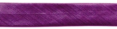 Fuchsia metallic gevouwen biaisband 13 mm (ca. 10 meter)