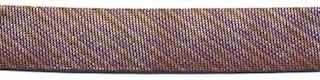 Bruin gestreept metallic gevouwen biaisband 13 mm (ca. 10 meter)