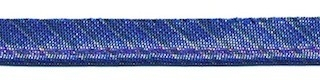 Kobalt blauw gestreept metallic piping-/paspelband 10 mm (ca. 10 meter)
