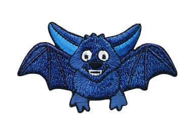 Opstrijkbare applicatie vleermuisje blauw (5 stuks)