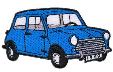 Opstrijkbare applicatie auto 'Mini' jeansblauw (5 stuks)