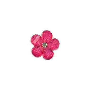 Flatback fuchsia bloem met 'kristalletje/strass' 17 mm (10 stuks)
