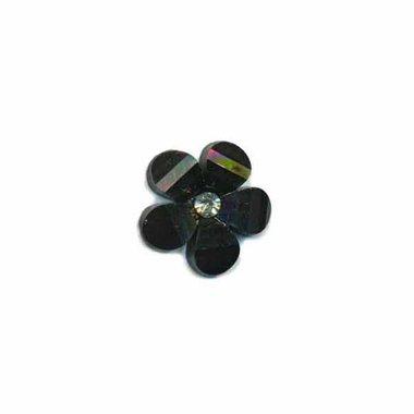 Flatback zwart bloem met 'kristalletje/strass' 17 mm (10 stuks)