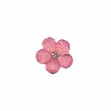 Flatback roze bloem met 'kristalletje/strass' 17 mm (10 stuks)